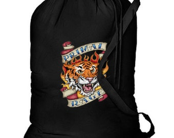Primal Rage Tiger New Cotton Laundry Bag, Camping, Duffle, Travel, Tote