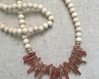 Rose gold quartz statement necklace