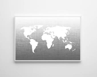 World map poster large wall art map black white ombre map gray map wall art neutral travel office wall art nursery art world map poster large wall art map ombre map art travel wall decor gumiabroncs Gallery