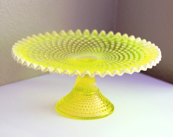 Yellow Cake Stand / Vintage Cake Stand / Hobnail Cake Stand / Fenton Vaseline Topaz Opalescent & Hobnail cake stand   Etsy