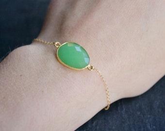 Faceted Chrysoprase 14k Gold Filled Bracelet