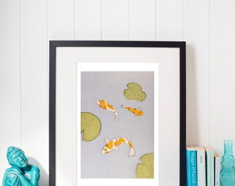 Three Koi Carp,  Limited Edition A3 Print