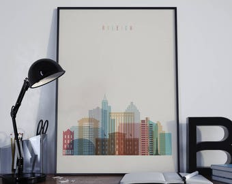 Raleigh Art Raleigh Watercolor Raleigh Multicolor Raleigh Wall Art Raleigh Wall Decor Raleigh Home Decor Raleigh City Raleigh Skyline Print