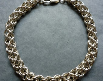 Chain maille bracelet, open maille pattern, in sterling silver