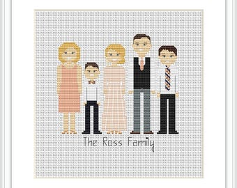 Personalized family 5 characters PDF Cross Stitch Pattern Custom portrait Family Portrait Custom Cross Stitch Embroidery hoop