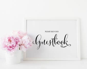 Guestbook Sign, Wedding Guestbook Sign, Guestbook Table Sign, Printable Guestbook Sign, Guestbook Table, Please Sign Our Guestbook