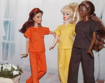 "1 Pair of  Nurse / Doctor Scrubs -Handmade 12"" Fashion doll clothes.  Barbie dolls are not included."