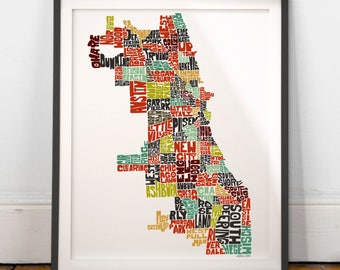 Chicago typography map, Chicago map art, Chicago neighborhoods print, Chicago illinois art, Chicago gift, hand drawn city typography series