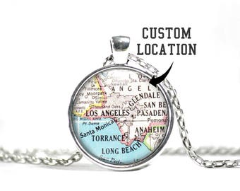 Custom Map Necklace, Map Pendant, Atlas Jewelry, City, State, Landmark, Park, and Country Maps, Map Gifts