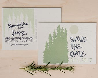 rustic nature/forest wedding save the date postcards