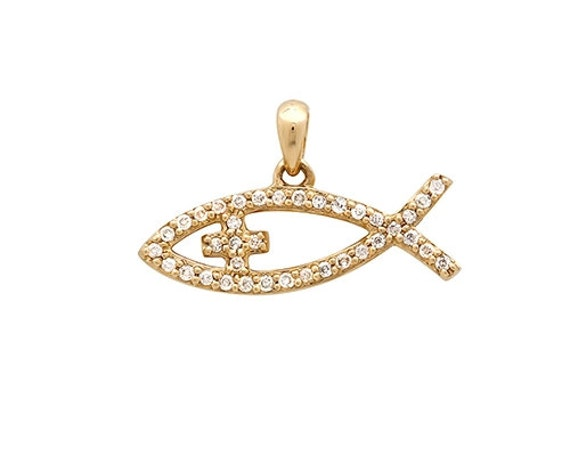 Christian fish necklace diamond fish pendant gold jesus fish aloadofball Image collections