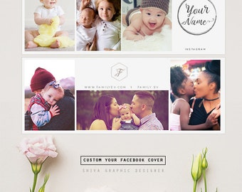 Facebook Cover Photo, Collage Facebook Cover Template for Photographers, Facebook Timeline Cover Template Photoshop, Header Template FB195