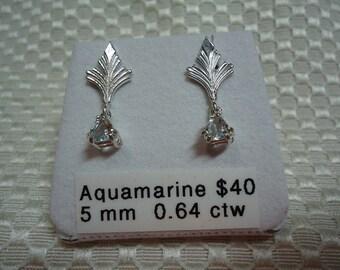 Trillion Cut Aquamarine Dangle Earrings in Sterling Silver   1788