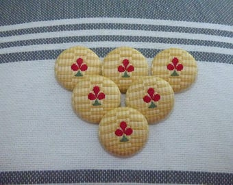 SET OF 6 COTTON BUTTONS HAS STRIPES OF COLOR TAN AND YELLOW