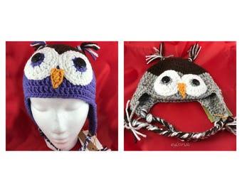 Crocheted child's owl hats