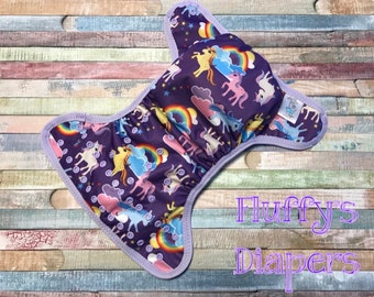 Ponies and Unicorns Poly PUL Cloth Diaper Cover With Aplix Hook&Loop Or Snaps You Pick Size XS/Newborn, Small, Medium, Large, or One Size