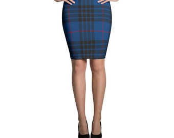 Tartan Blue Plaid Pencil Skirt Pin Up Nirvana Kurt Cobain Rockabilly Soft Grunge Punk Retro 90s Clothing 1950s 50s Skirt Grunge Clothing