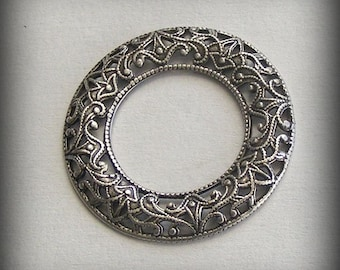 LuxeOrnaments Sterling Silver Plated Brass Domed Open Circle Frame 1 pc 28mm DC94B-VJS  S-9090