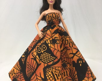 "Halloween Dress-11.5"" Doll Clothes-Halloween Doll Dress-Holiday Dress-Black Dress-Halloween Clothes-Gifts for Girls-Halloween Doll Costumes"