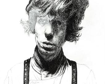 Fionn Regan portrait in unfinished style illustration print - Irish singer / songwriter
