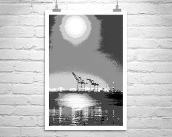 Oakland Art, Black and White Photography, Moon Picture, Oakland California, Abstract Art, Port of Oakland, Harbor Cranes, San Francisco Bay