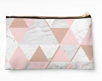 Triangle Geometric Pink Grey Marble Print Makeup Bag - washbag - makeup brush bag - travel wash bag - modern - geometric marble - Pink grey