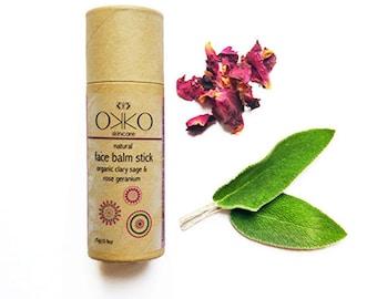 Face Balm Stick with Organic Clary Sage & Rose Geranium