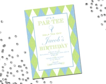 Golf Birthday Par-Tee Invitation - Argyle - Blue and Green - Printable
