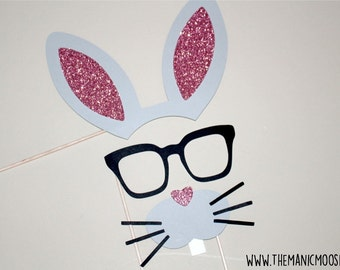 Funny Bunny Photo Booth Props ~ Set of 3 Glitter Photo Booth Props