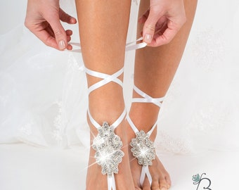Rhinestone Barefoot sandals wedding, Crystal Barefoot sandal Bridal foot jewelry Sparkle Beach wedding Anklet with ribbon,