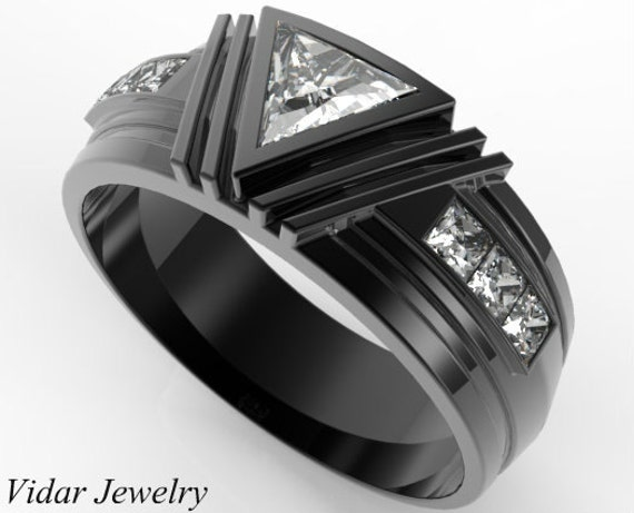 Mens Wedding Band Black Gold Triangle Moissanite Wedding