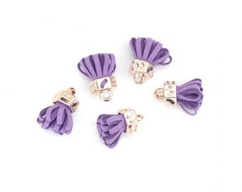 10 tassels velvet purple and gold clear 25mm