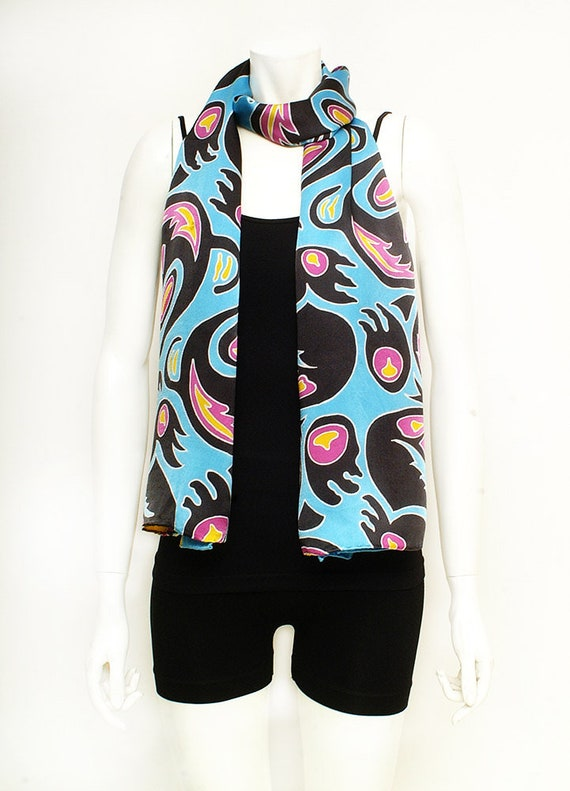 Hand painted silk scarf with Haida tribal totem pole design