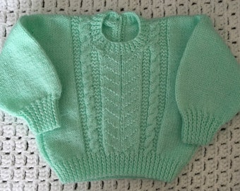 Mint green sweater jumper hand knitted cable pattern