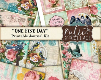 Printable, Journal Kit, One Fine Day, Junk Journal Kit, Ephemera Pack, Bird Journal, Spring Journal, Garden Ephemera, Digital Paper