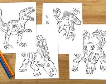 Tough Dinosaurs Coloring Page Set! Downloadable PDF file!