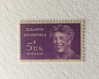 10 Vintage 5c US postage stamps - Eleanor Roosevelt 1963 - Purple FDR - unused