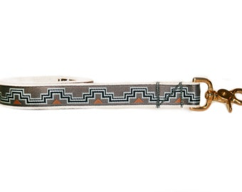 Grey dog leash, tribal pattern, geometric design, cotton and brass