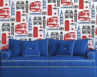 LONDON All over Wallpaper Stencil / Reusable Stencil / DIY / Home Decor / Interiors / Feature Wall / Wallpaper alternative