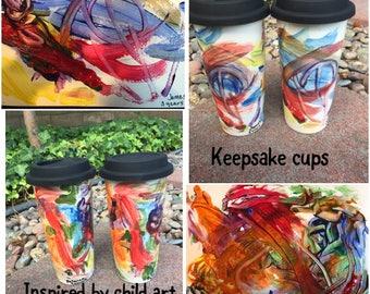 Kids Keepsake- Saving children art- toddler memento-choose a style cup-ceramic hand painted