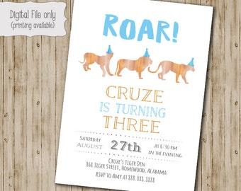 Safari Birthday Invitation, Cat Birthday invitation, Tiger Birthday invitation, Lion Birthday invitation