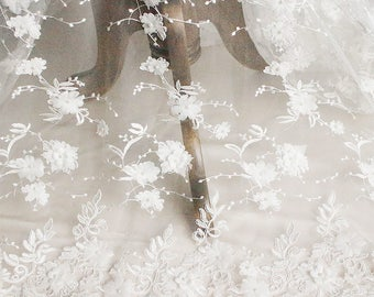 White Flower Lace Fabric By The Yard Bridal Lace Wedding Lace Women Dress Fabric Clothing Fabric Gown Fabric Skirt Fabric -DINGZHU