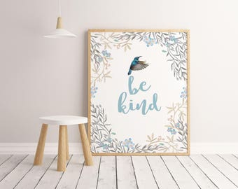 Be kind print Watercolor leaves Hand lettered print Leaf art print Printable art Wall art