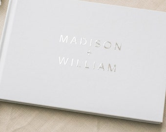 silver wedding guest book, guestbook, foil guest book, guest sign in, custom, personalized, journal - Little Carabao Studio - #SST104F