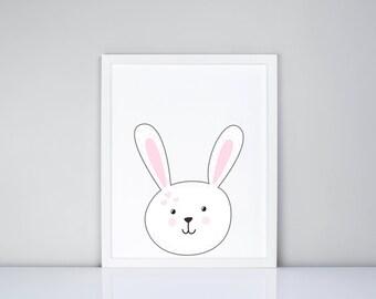White Bunny Printable, Digital Printable