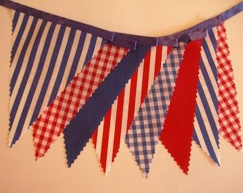 3m Length - Nautical Bunting - Red White Blue - Blue Satin Ribbon - Birthday Beach Seaside