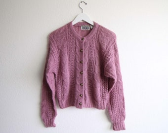 VINTAGE Cardigan Purple Orchid Mohair Sweater Womens Small