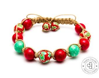 Shamballa bracelet handmade with naturals gemstones 10mm Fossil and Jade