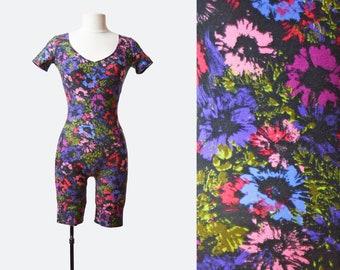 Vintage 90s Grunge Floral Aerobics Bodysuit Romper 1990s One Piece Playsuit Shorts V Neck Gym Short Sleeves Purple Pink Green Small