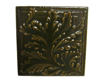 Brown leaf square tile set